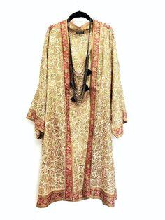 Pure Silk Kimono jacket / beach cover up beaded and by Bibiluxe, Boho Kimono, Silk Kimono, Kimono Jacket, Mode Abaya, Boho Fashion, Fashion Design, Kimono Fashion, Lingerie Sleepwear, Boho Chic