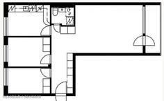 3 rooms, kitchen and a balcony (64,5m2) / Läpitalon kolmio erillisellä keittiöllä ja parvekkeella (64,5m2) #pohjapiirros Floor Plans, Diagram, Floor Plan Drawing, House Floor Plans