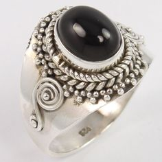 Natural BLACK ONYX Oval Gems 925 Sterling Silver Indian Artisan Ring Size US 7 #Unbranded