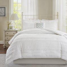 The Gray Barn Sleeping Hills White Coverlet Set (King/California King) (Polyester, Solid Color) Pink Comforter Sets, Ruffle Comforter, Ruffle Quilt, King Comforter, Duvet Sets, Duvet Cover Sets, Green Comforter, Queen Duvet, Blue Duvet