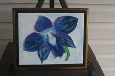 Blue Orchid FRAMED LEATHER COLLAGE,  Art,  Wall Art, Original Signed Art, Wall Decor, 3 D Art, Painting, Collage, Wall Art, Home Decor Art, by LindasLeatherStore on Etsy