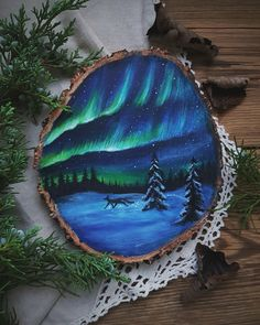Aurora Borealis~Magical painting on wood slice, by Forest Design, custom order