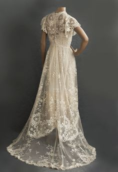 Edwardian Clothing At Vintage Textile 2816 Princess Lace Wedding Dress