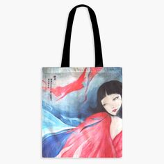 CLEARANCE - Guardian Spirits Cotton Tote Bag with Zipper Pocket - Jing Wei Cotton Tote Bags, Reusable Tote Bags, Japanese Folklore, Watercolor And Ink, Colored Pencils, Mystery, Zipper, Pocket, Illustration