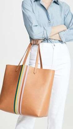 Madewell Classic Transport Tote with Rainbow Stripe , Best Work Bag, Madewell Tote, Commuter Bag, Chic Summer Style, Work Bags, Work Wardrobe, Leather Fashion, Tote Bag, Stylish