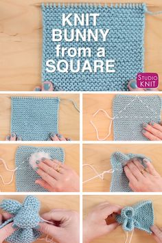 So easy! Knit a Bunny from a Square by Studio Knit! Celebrate Springtime with this little bunny rabbit softie easily shaped from a simple knitted square. #StudioKnit #knittingvideo #bunnyfromasqare #EasterDIY #freeknittingpattern