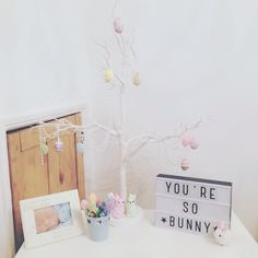Easter  Christening cards down, Easter decorations up, how cute  Any excuse to decorate the house  #easter #weekend #eggs #bunnys #chocolate #lightbox #cute #familytime #happy #babysfirsteaster #dresser #whynot