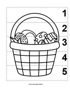 Number Sequence Preschool B&W Picture Puzzle - Easter Basket from Worksheet Teacher Easter Worksheets, Kindergarten Math Worksheets, Preschool Learning Activities, Preschool Math, Summer Activities, Teaching Kids, Spring Crafts For Kids, Picture Puzzles, Autism Classroom
