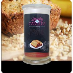 https://www.jewelryincandles.com/store/laburch The mouth watering aroma of oven fresh banana nut bread, just like Mom used to make! Combining walnuts, ripe banana, vanilla, and a touch of spice; this scent is sure to spark your appetite! Banana nut bread candles with jewelry.  Full size 21oz jewelry candle - 100% all natural Soy candle burns for 100 to 150 hours. Jewelry in every candle.