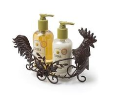 FRENCH COUNTRY Rooster Hand Soap BASKET Holder Antique Bronze NEW
