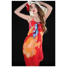 LUCLUC Red Floral Fringeless Sarong ($9.99) ❤ liked on Polyvore featuring swimwear, cover-ups, floral print swimwear, sarong cover ups, floral sarong, red sarong and sarong swimwear