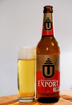 Dortmunder Union Export beer bottle and glass Lager Beer, Beer Bottle, Canning, Drinks, Glass, Bottles, Alcohol, World, Ale