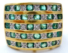 The Jewelry Lady's Store: Wide 18K Gold Emerald and Diamond Ring Vintage