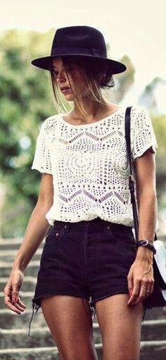 black shorts, lace tshirt, casual summer