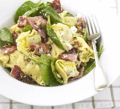 Tortellini with ricotta spinach and bacon This crunchy and creamy pasta is special enough for summer entertaining