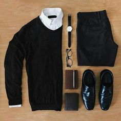 Outfit grid - Black and white style Mode Masculine, Trajes Business Casual, Business Casual Outfits, Mode Outfits, Fashion Outfits, Fashion Ideas, Fashion Tips, Fashion Trends, Mode Man