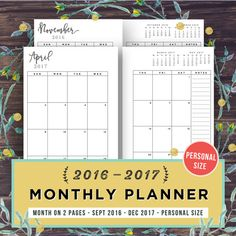 Planner Inserts Personal Size Month On Two By Printablepineapple