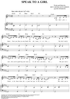 """""""Speak to a Girl"""" Sheet Music by Tim McGraw and Faith Hill from OnlineSheetMusic.com"""