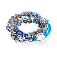 Bead + Chain Multi Wrap Bracelet by Chloe + Isabel. #Turquoise thread and firepolished beads hand-crafted into a multi wrap chain# bracelet with an extended loop for adjustable fit. Can be worn as a #necklace too! www.chloeandisabelseattle.com A great value at $42!