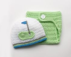 BABY GOLF BEANIE, Golf Hat Diaper Cover Outfit, Crochet Baby Boy Golf, Baby Girl Golf, Golf Photo Prop, Knit Baby Golf Hat, Newborn Golf Hat by Grandmabilt on Etsy