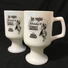 Las Vegas 9th Annual Roundup of Alcoholics Anonymous Pedestal Coffee Mugs 1975 #Unbranded