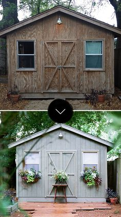 Before & After: A Basic Garden Shed Gets Spruced Up (Design*Sponge) Painted Shed, Painted Garden Sheds, Wooden Garden, Shed Makeover, Shed Organization, Plants For Hanging Baskets, Makeover Before And After, Olive Garden, Wood Shed