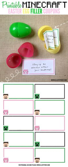 Printable Minecraft Easter Egg Filler Coupons