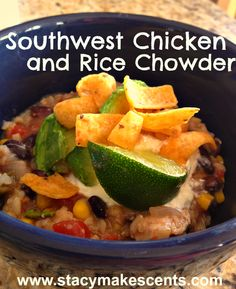 Crock Pot Southwest Chicken and Rice Chowder--E with no corn and no avocado.  do another E chips instead of corn chips.