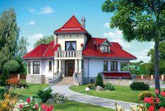 Projekt domu AN KASZTEL - DOM AN2-06 - gotowy projekt domu Home Fashion, Mansions, Villa, House Styles, Building, Mini Homes, Houses, Home Decor, Log Projects