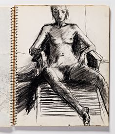 Diebenkorn, Charcoal or conte crayon, Page 065 from Sketchbook # 23 [seated female nude in chaise longue]