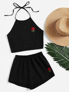 Shop Rose Embroidered Tie Back Halter Top And Shorts Co-Ord online. SheIn offers… Shop Rose Embroidered Tie Back Halter Top And Shorts Co-Ord online. SheIn offers Rose Embroidered Tie Back Halter Top And Shorts Co-Ord & more to fit your fashionable needs. Teen Fashion Outfits, Mode Outfits, Girl Fashion, Girl Outfits, Young Fashion, Ootd Fashion, Fashion Trends, Yellow Outfits, Beach Outfits