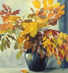Still Life of Fall Foliage in Black Vase by Elizabeth Nourse, watercolour