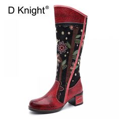 ccc93505c3cbe Fashion Patchwork Western Cowboy Boots Women Shoes Bohemian Genuine Leather  Shoes Woman Vintage Side Zip Knee