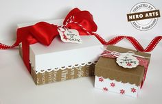 Boxes made with Martha Stewart score board, Hero Arts stamps