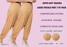 Ethnic Bottomwear - Patiala Pants Fabulous Viscose Women's Patiala Pant Combo Fabric: Viscose  Size: XL - 24 in - 32 in XXL - 26 in - 34 in Length: XL - 40 in XXL - 41 in Type: Stitched Description: It Has 2 Pieces Of Patiala Pants Colour: Skin- Skin Pattern: Solid Country of Origin: India Sizes Available: XL, XXL   Catalog Rating: ★4 (458)  Catalog Name: Fabulous Viscose Women's Patiala Pant Combo Vol 17 CatalogID_401240 C74-SC1018 Code: 943-2944411-