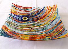 Fusion glass Plate, Handmade,  33 cm x 33 cm, Fused Glass, multi color, wall art, home  decor, fruit plate