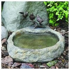 Three Birds with Basin Bronze Garden Sculpture: Lava $