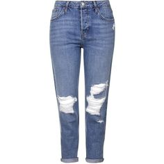 TOPSHOP MOTO Rip Hayden Jeans ($60) ❤ liked on Polyvore featuring jeans, blue, topshop, destructed jeans, ripped blue jeans, torn boyfriend jeans and distressed jeans