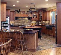natural-stone kitchen backsplash tiles types dark wood cabinets