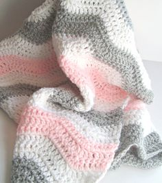 Pink and Gray Chevron Baby Blanket - Crochet Pink Baby Blanket - Chevron Baby Girl Pink Gray Nursery Bedding / Chevron Bedding 27 X 30""