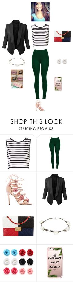 """K B M T G"" by queen-kaitlyn ❤ liked on Polyvore featuring Marchesa, LE3NO, Chanel, Lipsy and Casetify"