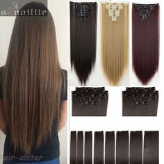 "DELUXE& THICK 8PCS 23""60CM Straight Full head Clip in Hair Extensions Extension 18Clips on Black Brown Blonde Natural Hairpieces"