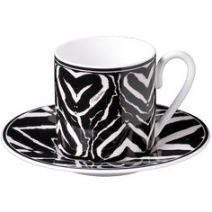 Roberto Cavalli Zebra Coffee Cups & Saucers - Set of 6 ($334) ❤ liked on Polyvore featuring home, kitchen & dining, drinkware, cups, decor, coffee cup and saucer, bone china coffee cups, coffee cups, bone china and roberto cavalli