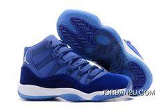0050a929ec421 2017 Air Jordan 11 Velvet Royal Blue-White Latest  Sneakers Jordan 11 Blue