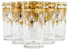 Murano Crystal Highball Glasses, S/6