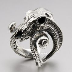 Large Ran Skull Horn Aries 925 Sterling Silver Mens Ring 8E003 Express Mail | eBay