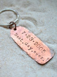 Love the idea. - someday... Anniversary Keychain - Husband gift- husband and wife gift- wedding gift- personalized keychains via Etsy