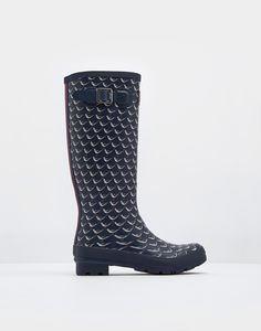 Printed French Navy Oyster Catcher Rain Boots  | Joules US