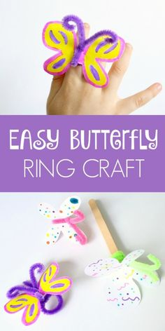 Easy Butterfly Craft-Make Paper Butterfly Rings or Popsicle Stick Butterflies for Pretend Play