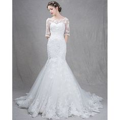 White Lace Embroidered Half Sleeve Mermaid Formal Wedding Bridal Gown SKU-117041